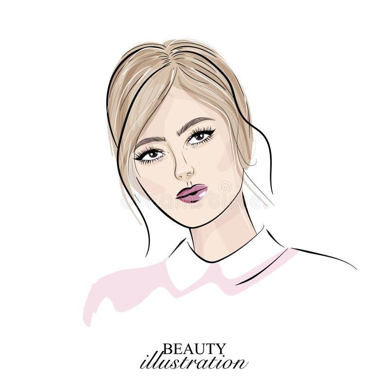 Blondynki dziewczyny twarz z nagą makeup wektoru ilustracją Wzorcowa ręka rysujący portret Skóry opieki sztuka Piękno twarzy sple royalty ilustracja