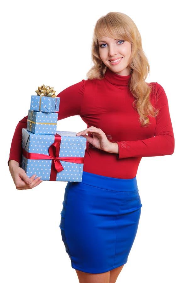 Blondynki i prezenta pudełka fotografia royalty free