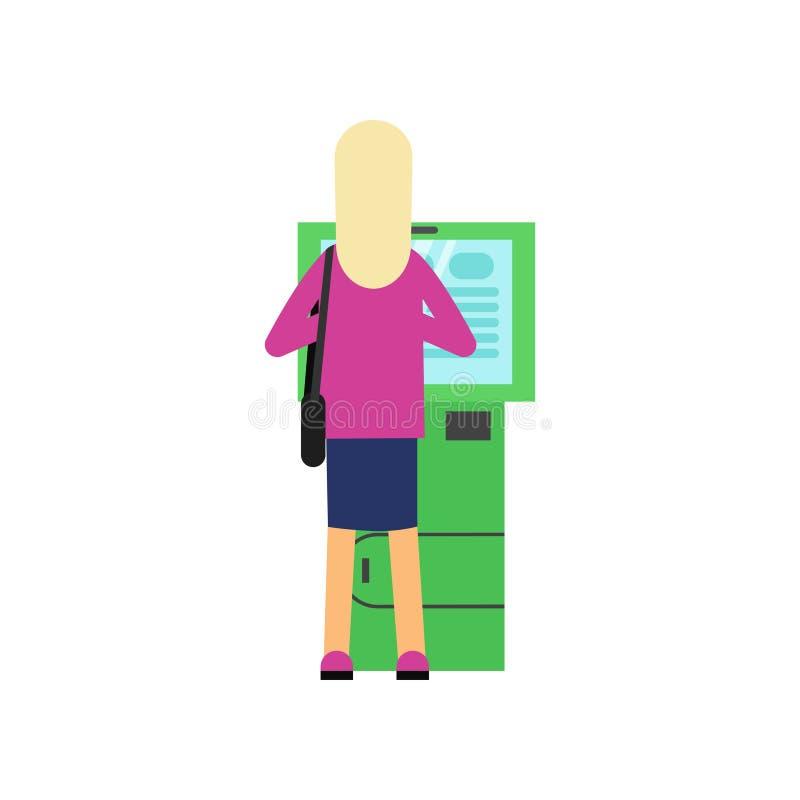 Blondynki kobieta używa gotówkową maszynę ATM Kreskówka żeński charakter w różowym pulowerze i błękit omijamy, tylna strona Depon ilustracji