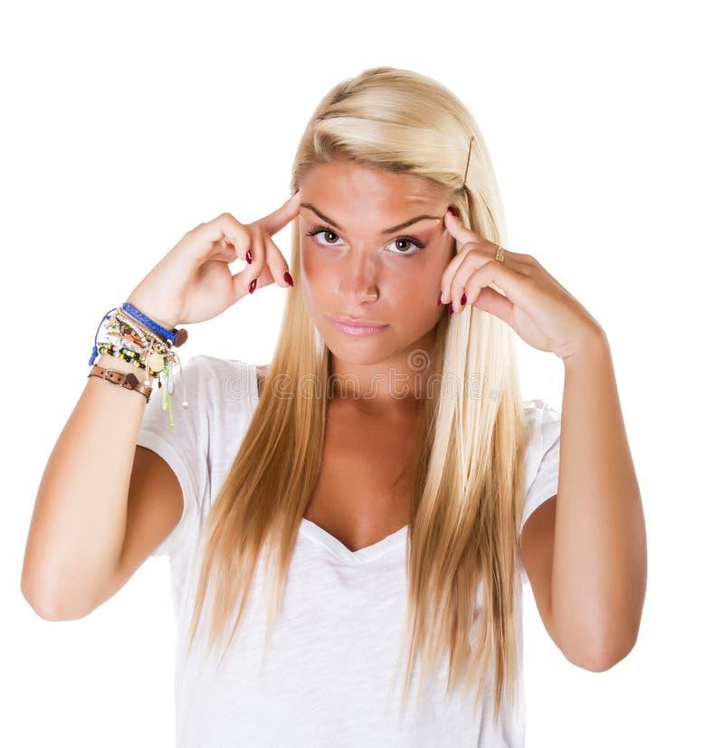 Blondynki kobiety migrena zdjęcia stock