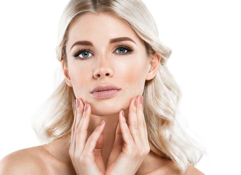 Blondynki kobiety Piękny portret Kosmetyczny pojęcie, platyna Blon zdjęcie royalty free