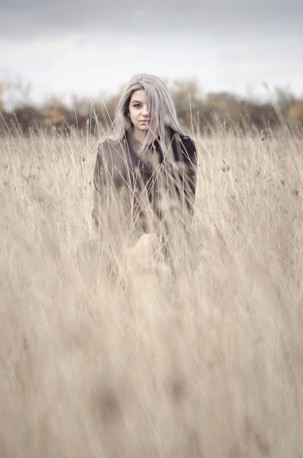 Blondynki młoda dziewczyna w trawy polu zdjęcia stock