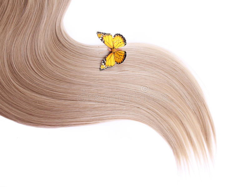 blondynki motyliego włosy odosobniony biały kolor żółty fotografia stock