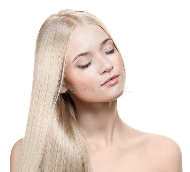 Blondynki piękna Dziewczyna. Zdrowy Długie Włosy zdjęcia royalty free