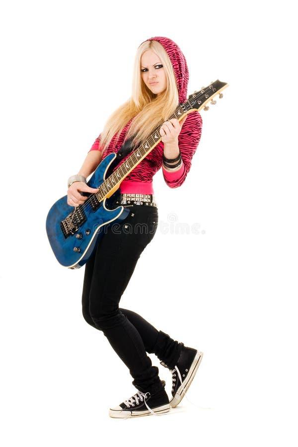 blondynki piękna gitara obrazy stock
