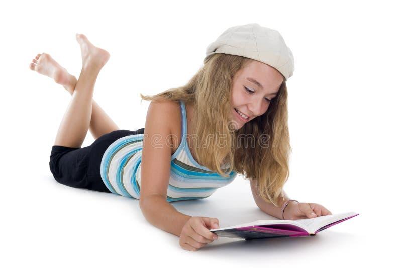 blondynu nastolatek książkowy czytelniczy obraz stock