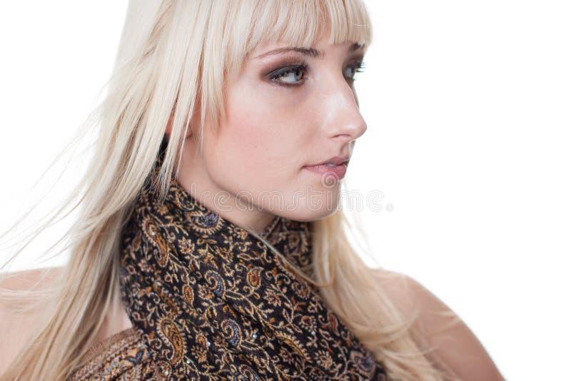 Blondyny z szalikiem fotografia stock