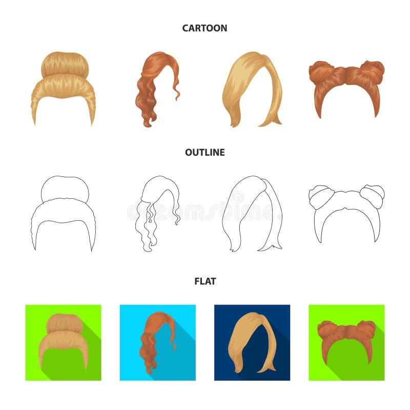 Blondyny z wiązką, czerwonymi typ włosy, falistymi i innymi Tylnego włosy ustalone inkasowe ikony w kreskówce, kontur, mieszkanie ilustracja wektor