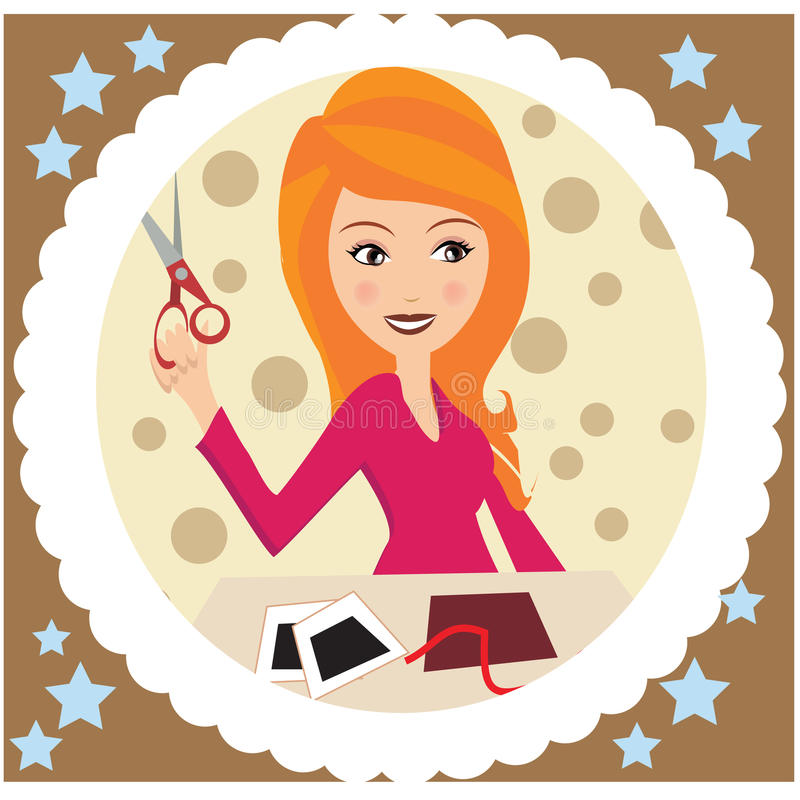 A blong girl with Crafting art supplies. A blonde girl in A square design with crafting art supplies including scissors , pictures and pencils stock illustration