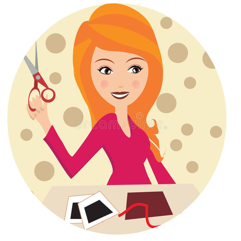 A blong girl with Crafting art supplies. A blonde girl with crafting art supplies including scissors , pictures and pencils stock illustration