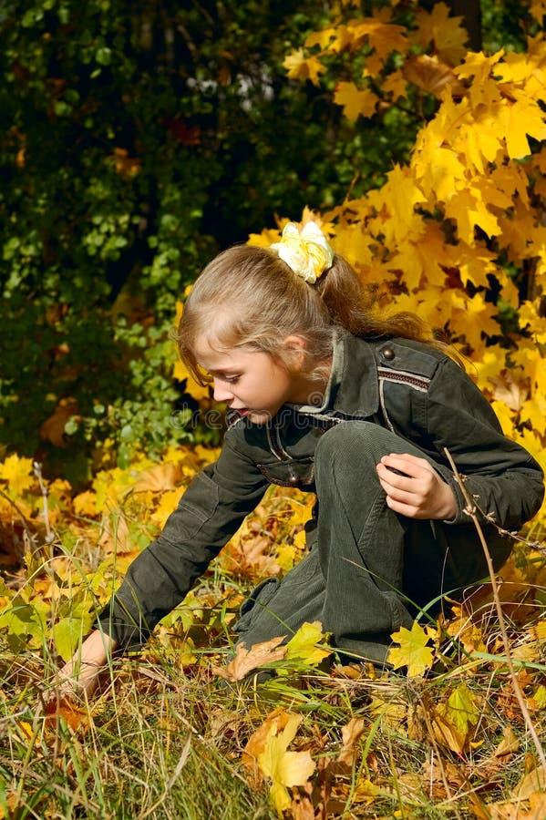 blont flickabarn för höst fotografering för bildbyråer