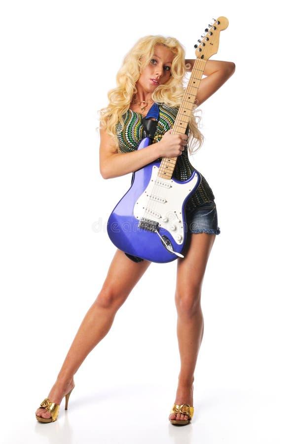blont gitarrbarn arkivbild