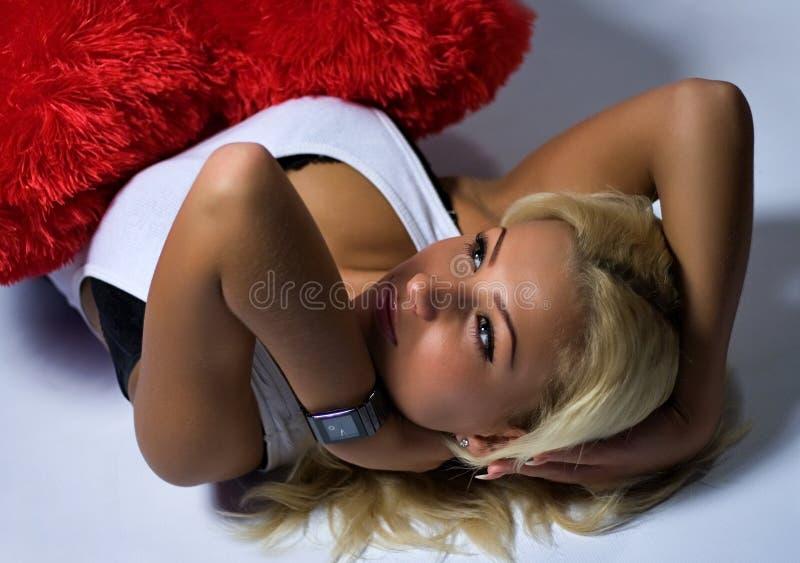 blont haired kvinnabarn royaltyfri bild