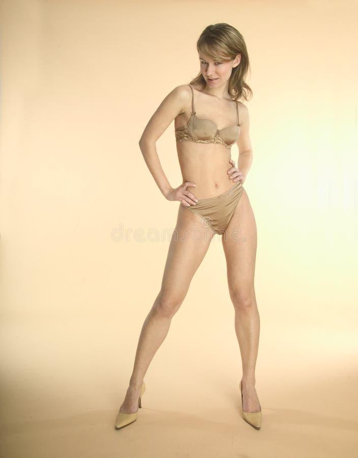 Blont Henne Nätt Underkläder Arkivbild