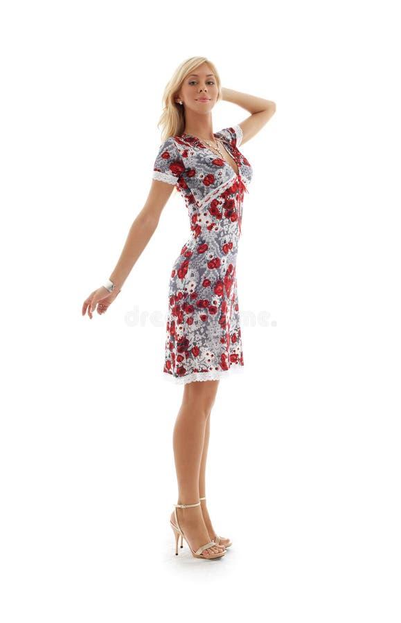 Blont i den färgrika klänningen #2 arkivfoto