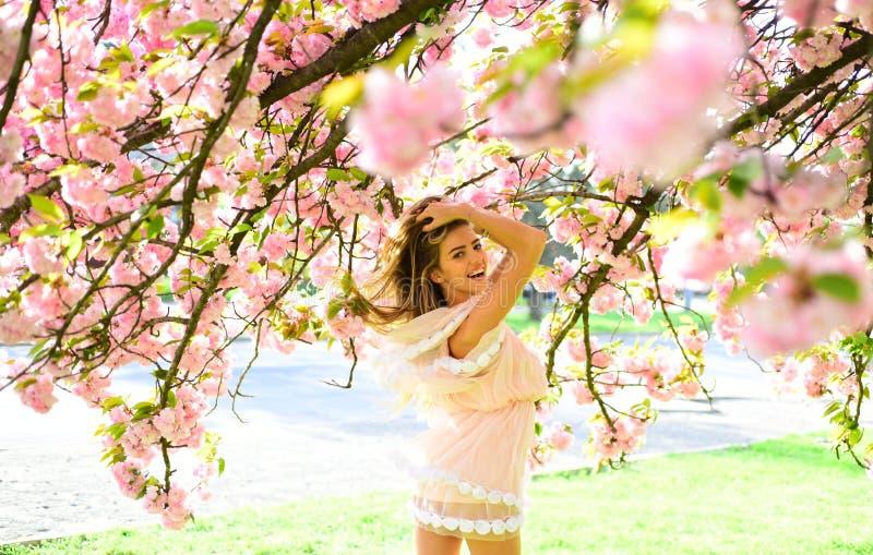 Blont kvinnligt posera under den körsbärsröda blomningen Kvinna i älskvärd rosa fladdraklänning som går i botanisk trädgård lyckl arkivfoton