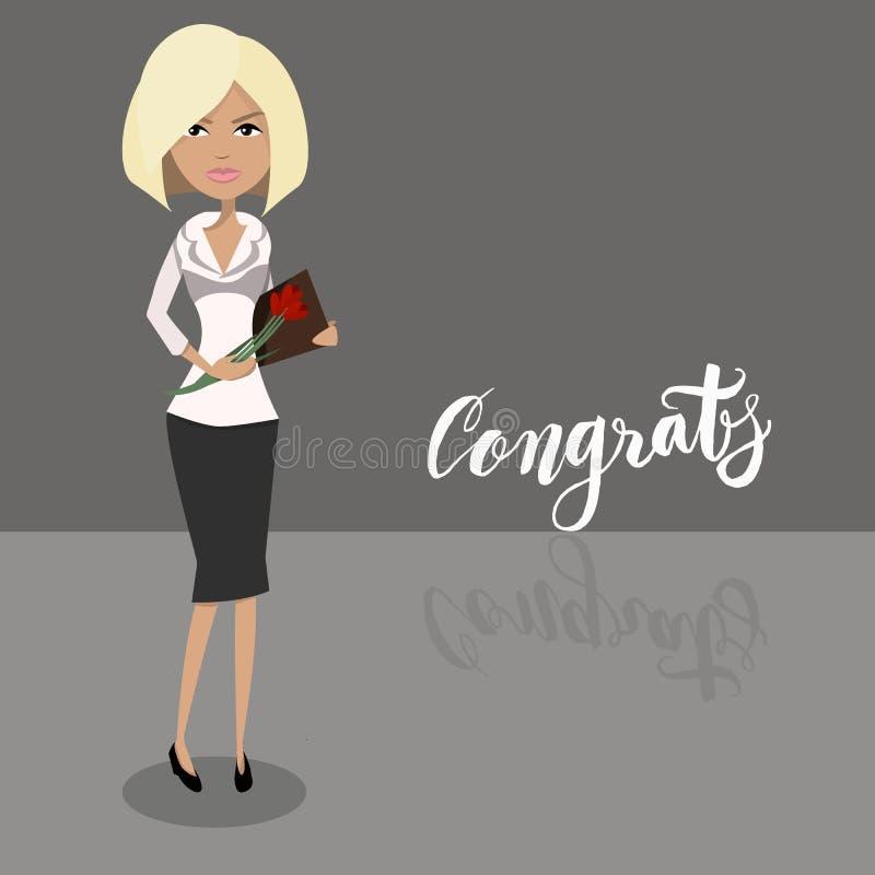 Blont kvinnligt tecken för tecknad filmsekreterare Attraktiv affärskvinnateckendesign stock illustrationer