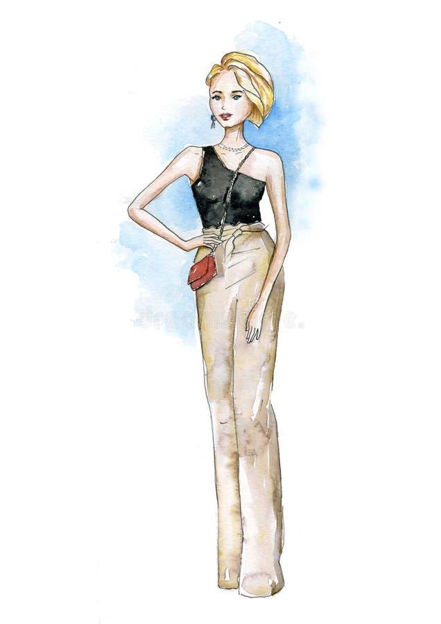 Blont med en kort frisyr stock illustrationer