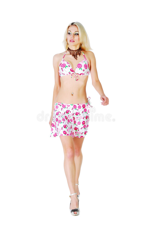 blont model sexigt för bikini arkivfoto