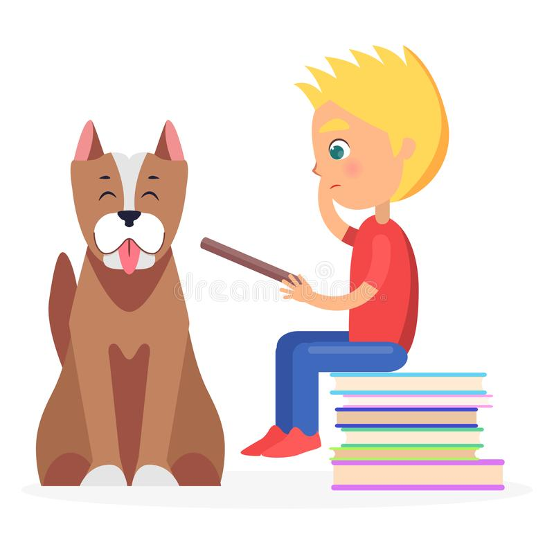 Blont pojkesammanträde på hög av litteratur med husdjuret royaltyfri illustrationer