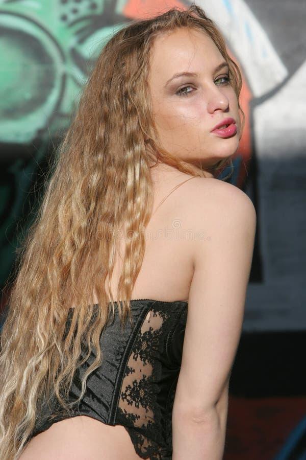 Blont Sexigt Kvinnabarn Fotografering för Bildbyråer