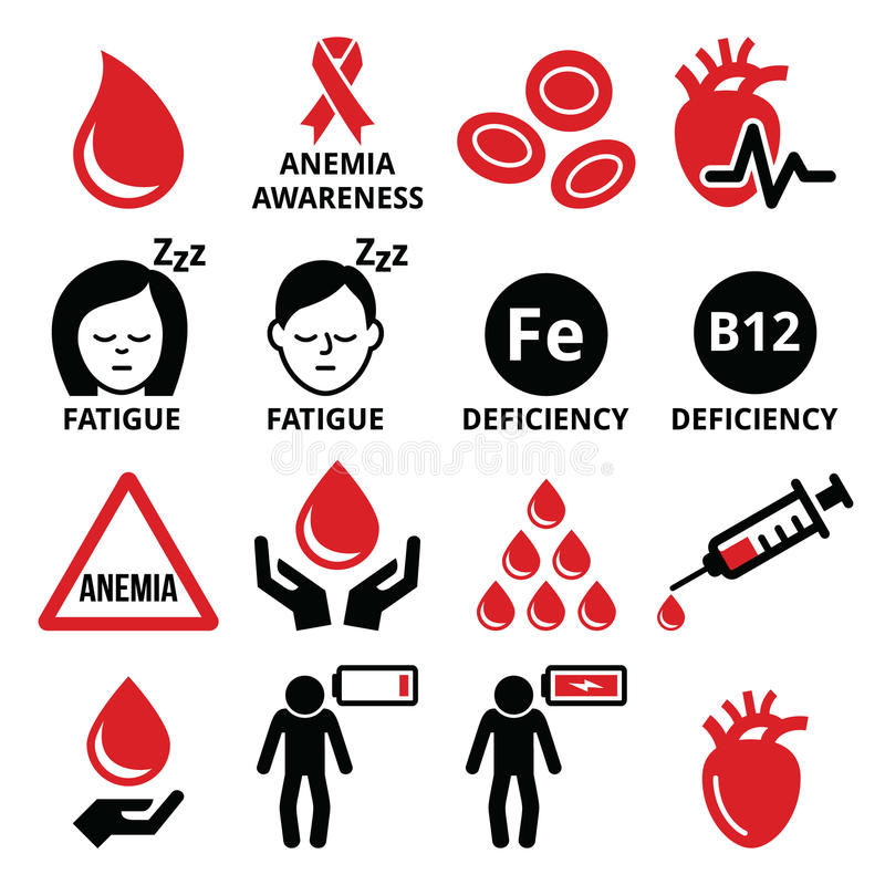 Blood, anemia, human health icons set vector illustration