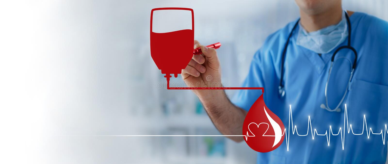 Blood bag, blood drop and heart pulse, transfusion concept with royalty free stock images