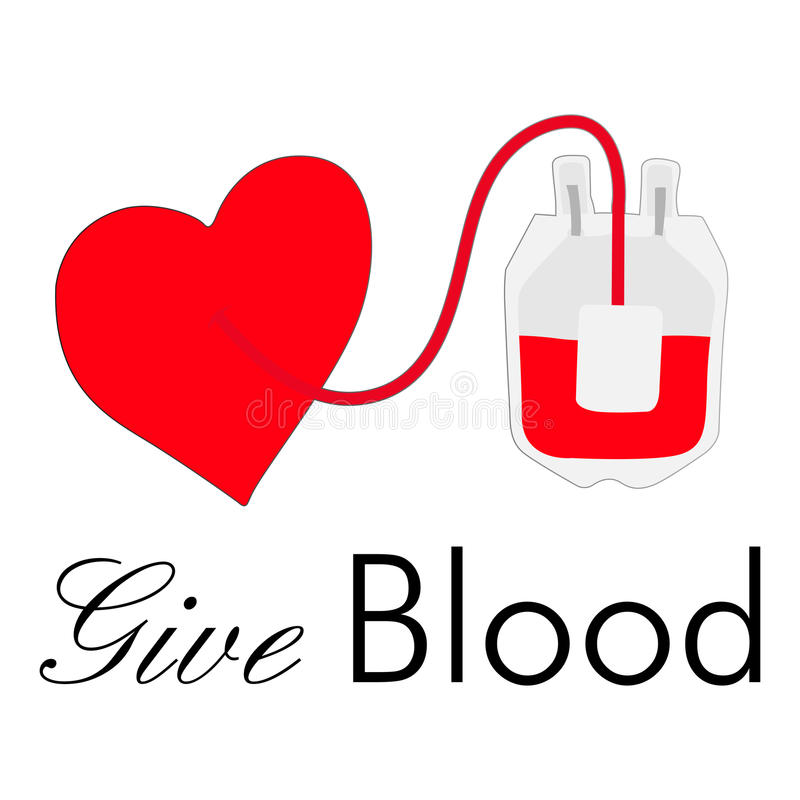 Blood Bag And Heart Stock Photography