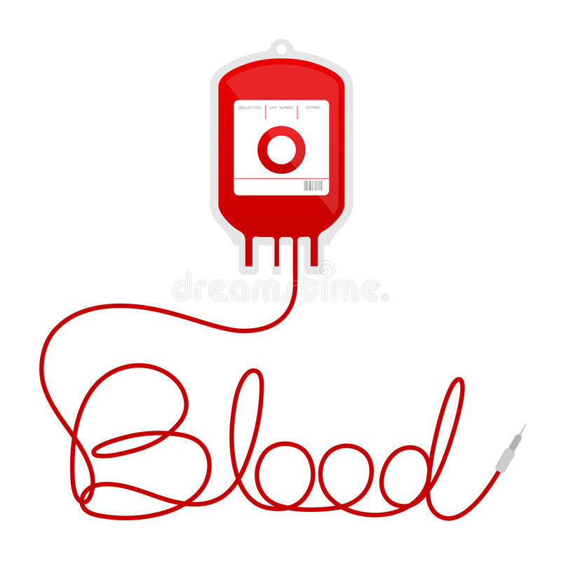 Blood bag type O red color and blood text made from cord stock illustration