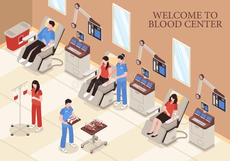 Blood Center Isometric Illustration stock illustration