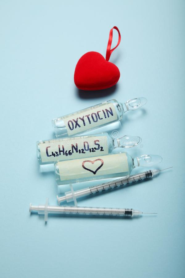Blood chemistry hormones. Biochemistry oxytocin. Love control royalty free stock image
