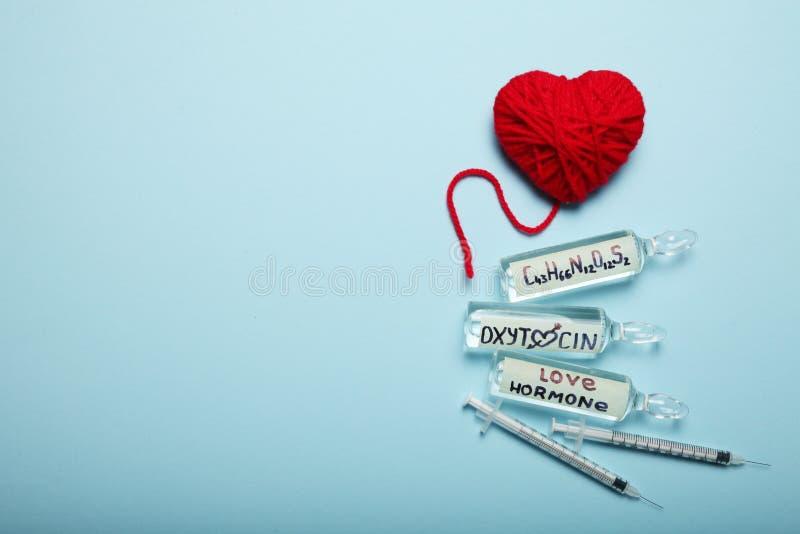 Blood chemistry hormones. Biochemistry oxytocin. Love control. Copy space for text stock image