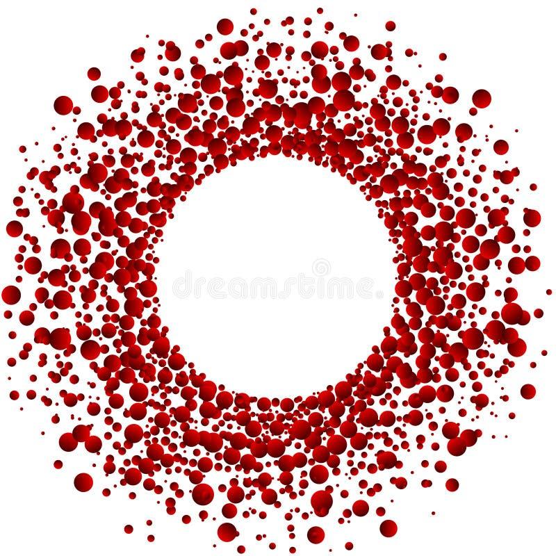 Blood circular round frame border. Description: Explosion red blood blobs circle frame Halloween or themed invitation card royalty free illustration