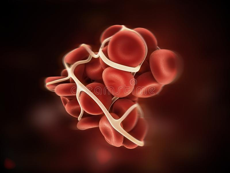 Blood clot. 3d rendered close up of a blood clot stock illustration