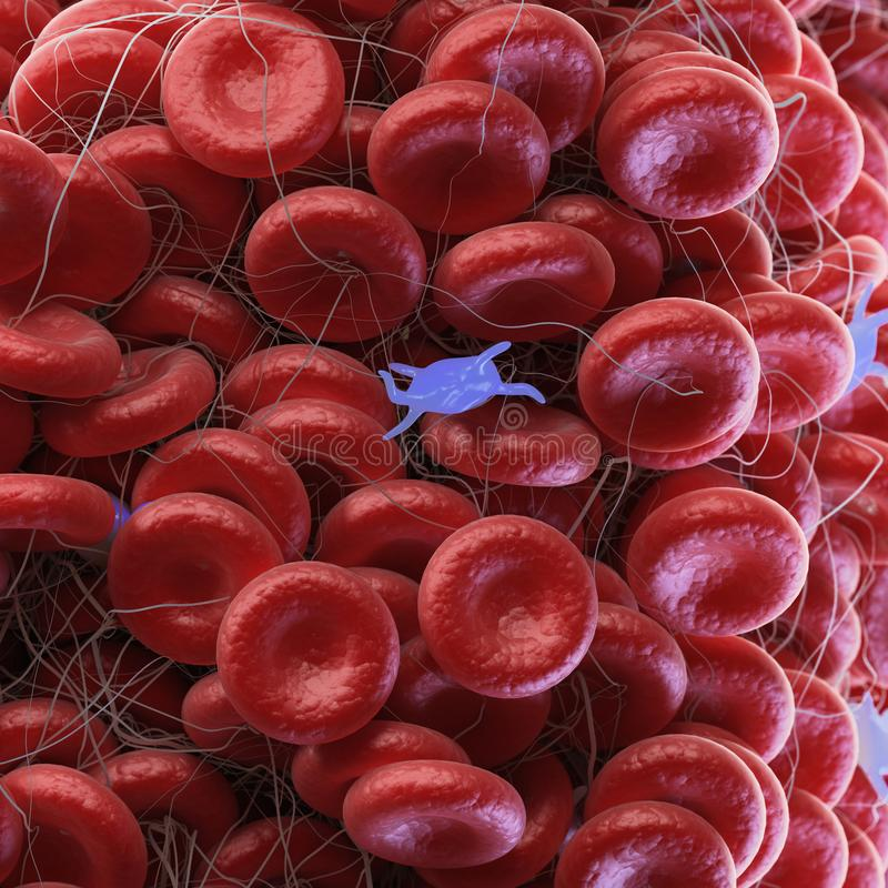 A blood clot. 3d rendered medically accurate illustration of a blood clot stock illustration
