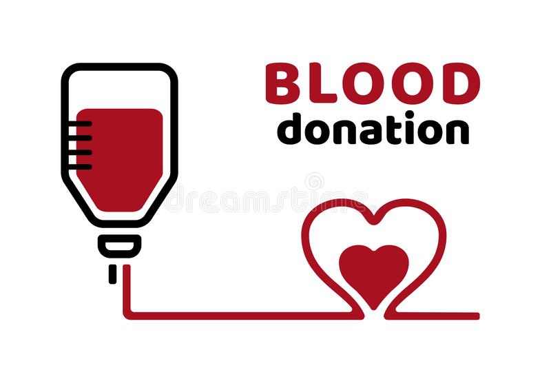Blood donation. Black and red poster on the World Blood Donor Day. Vector royalty free illustration