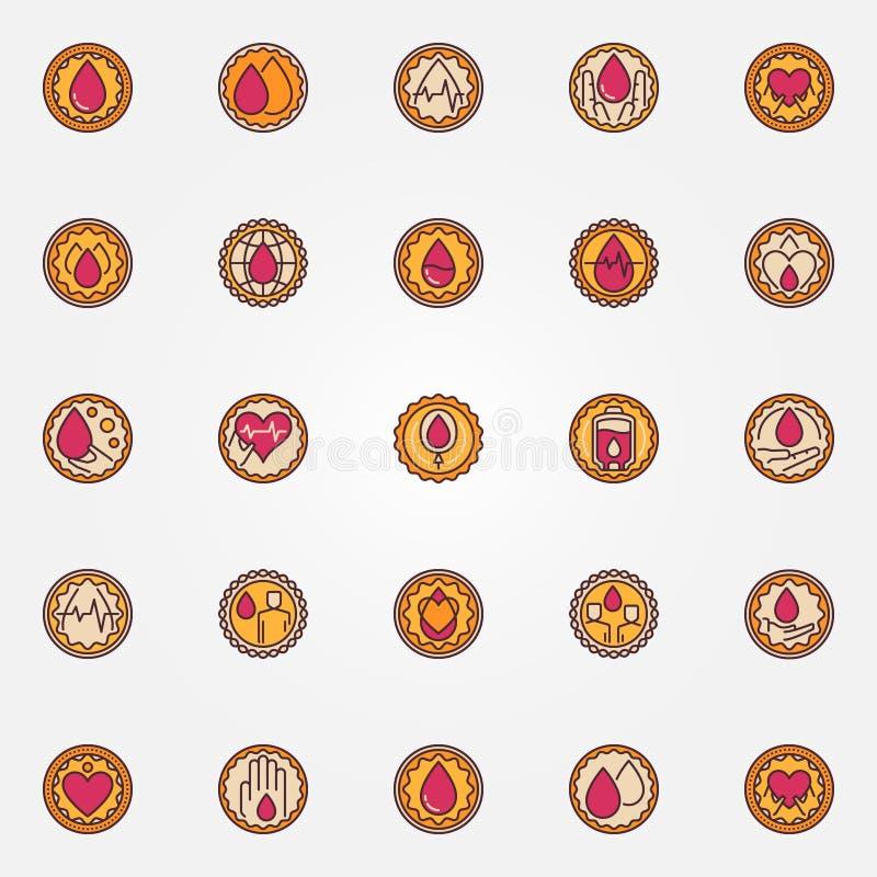 Blood donation colorful badges vector illustration