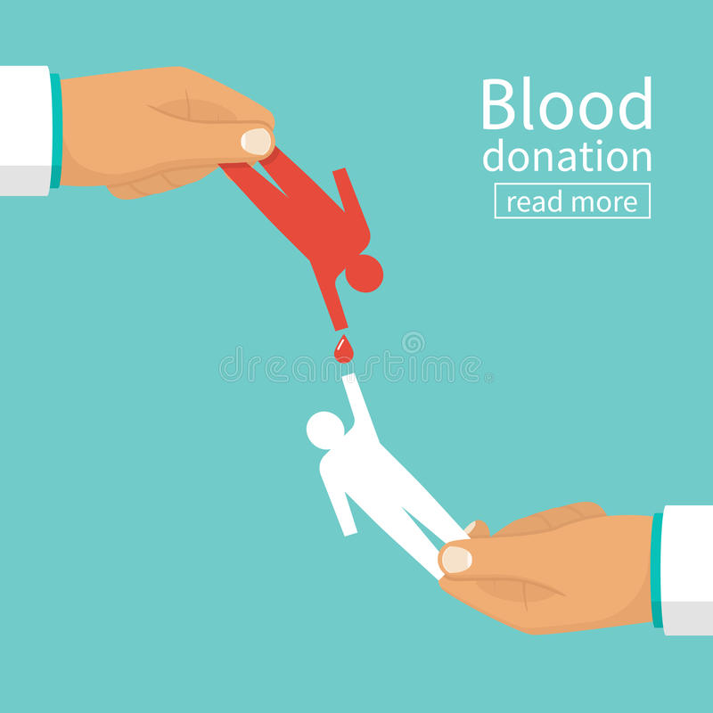 Blood donation concept. Doctor holding in hand silhouettes of people blood transfusion. Vector illustrations flat design. Isolated on background. Donor day vector illustration