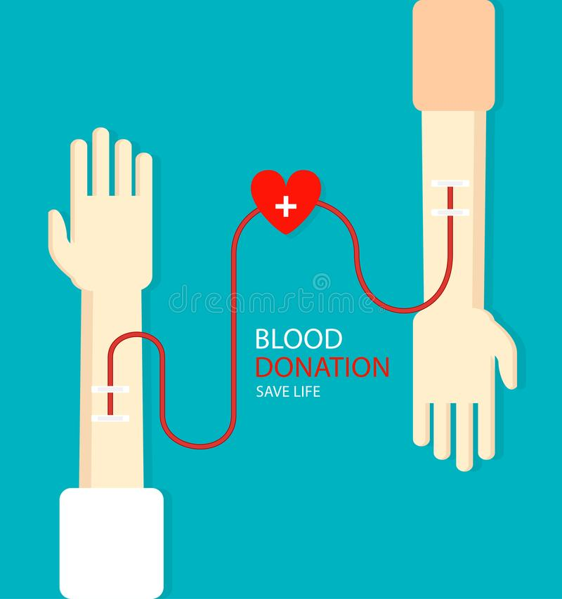 Blood donation concept for poster. Health care. Vector illustration stock illustration