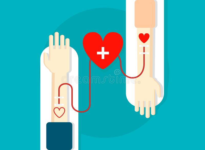 Blood donation concept. Two hands with heart donation. Vector stock illustration