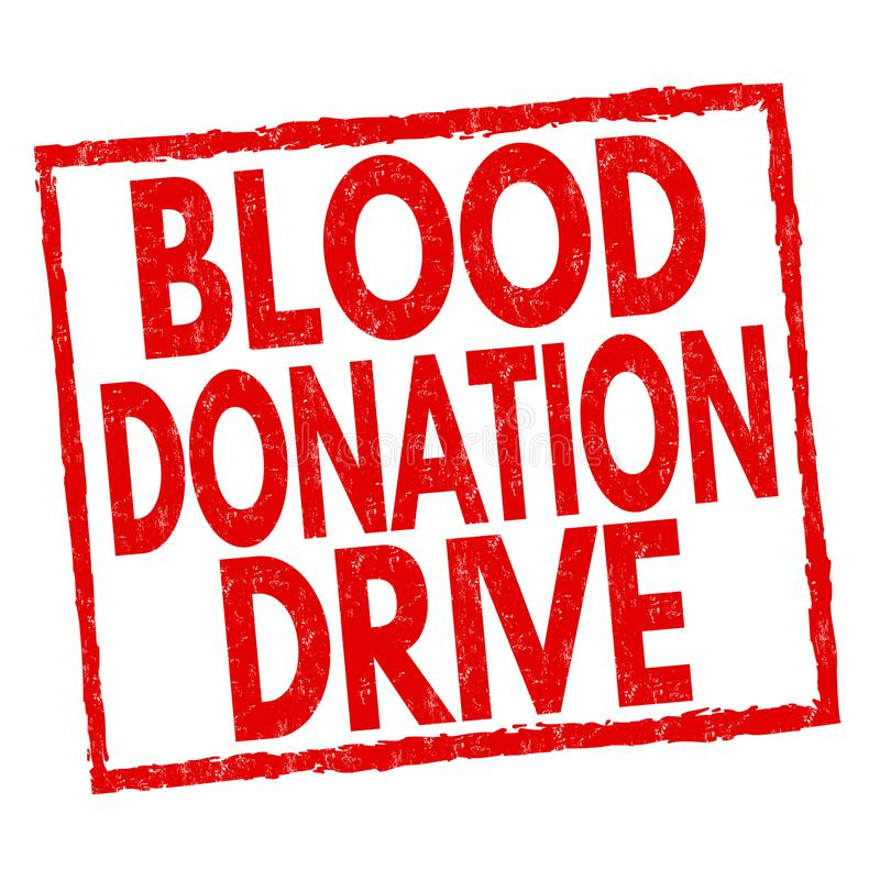 Blood donation drive sign or stamp royalty free illustration