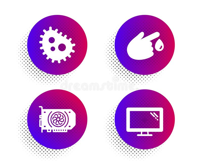 Blood donation, Gpu and Bacteria icons set. Monitor sign. Injury, Graphic card, Antibacterial. Vector royalty free illustration