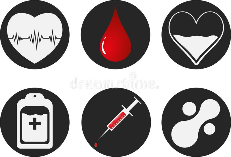Blood Donation Icon Set. Heart, blood, drop, counter, syringe and mataball molecule. Vector illustration EPS 10. Blood Donation Icon Set. Heart, blood, drop stock photos