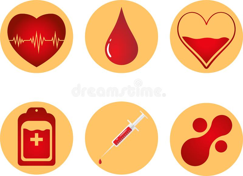 Blood Donation Icon Set. Heart, blood, drop, counter, syringe and mataball molecule. Vector illustration EPS 10. Blood Donation Icon Set. Heart, blood, drop royalty free stock photos
