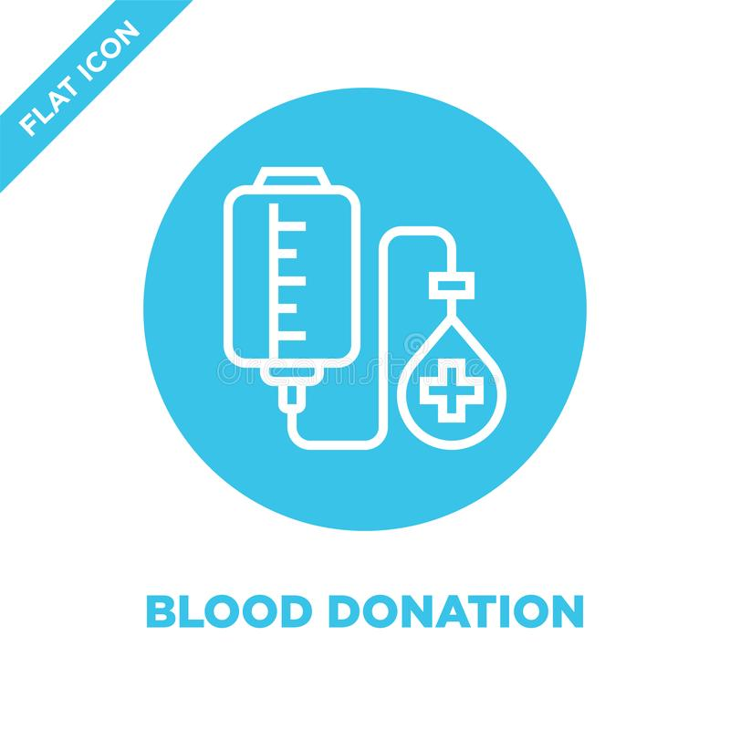 blood donation icon vector from charity elements collection. Thin line blood donation outline icon vector  illustration. Linear royalty free illustration