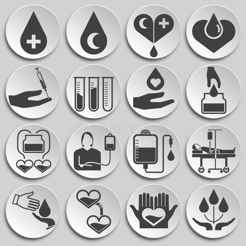 Blood donation related icons set on background for graphic and web design. Simple illustration. Internet concept symbol. For website button or mobile app stock illustration