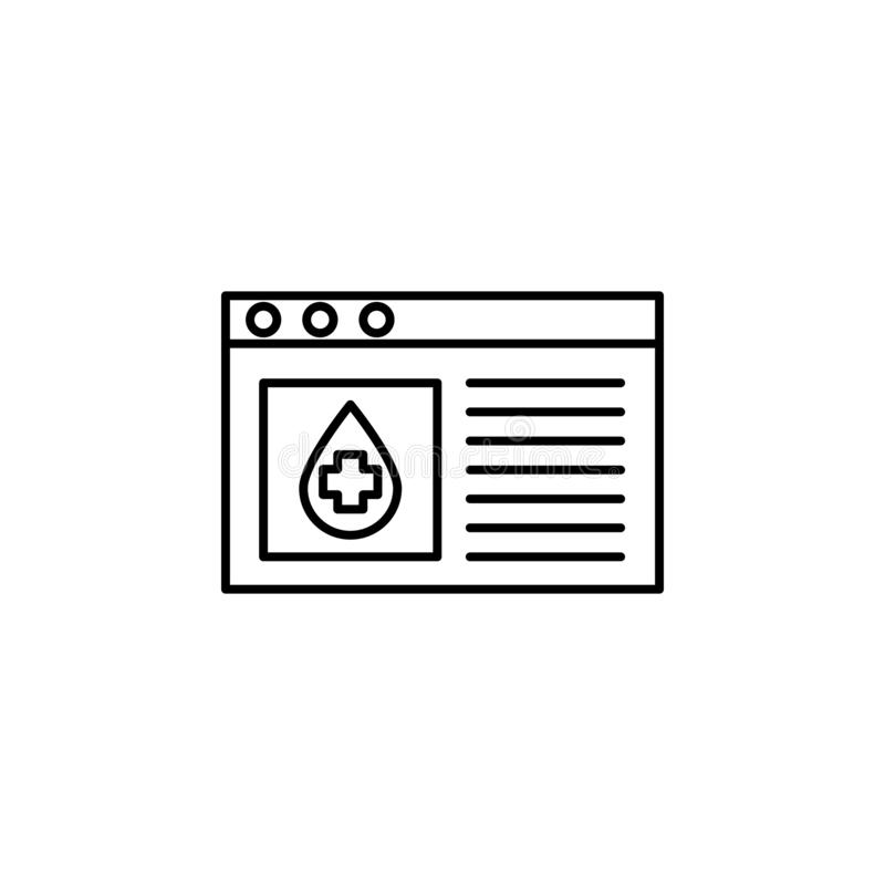 Blood donation site icon. Element of blood donation for mobile concept and web apps illustration. Thin line icon for website desig. N and development, app stock illustration