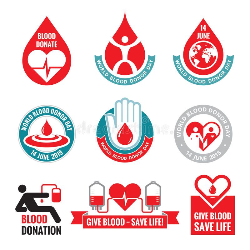 Blood donation - vector logo badges collection. World blood donor day - 14 June. Heart and blood drop illustration. Blood donate. royalty free illustration