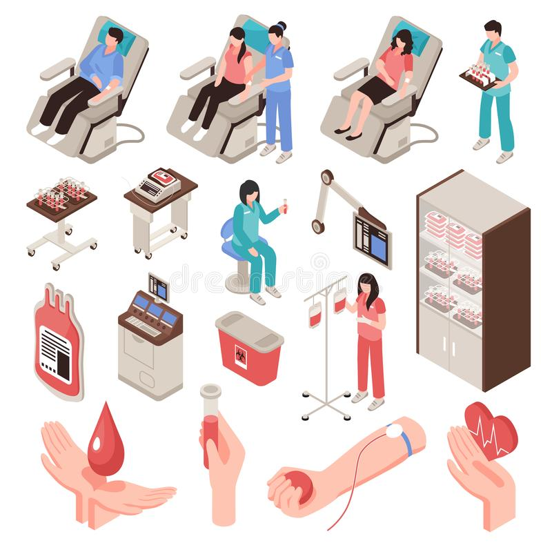 Blood Donor Isometric Set vector illustration
