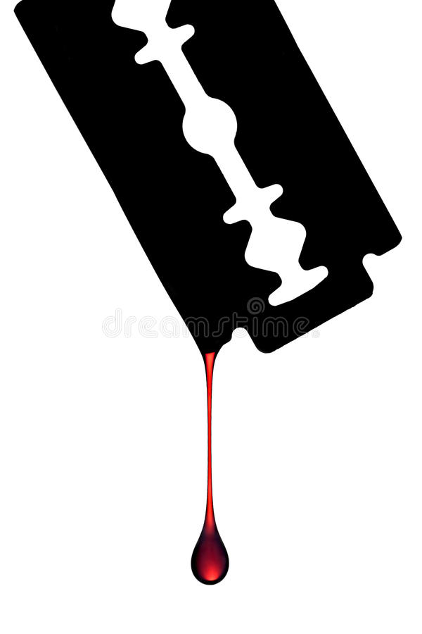 Blood dripping off razor blade stock photo